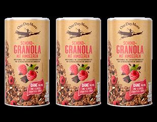Schoko-Granola mit Himbeeren Set
